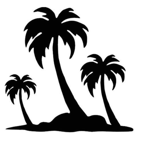 844 Island Palm Trees 4 Vinyl Sticker