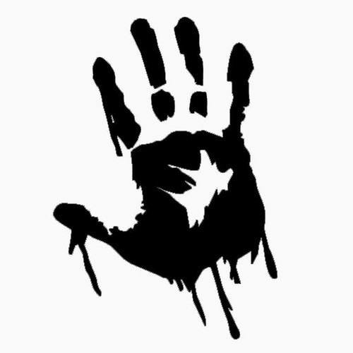 862 Zombie Handprint Vinyl Sticker
