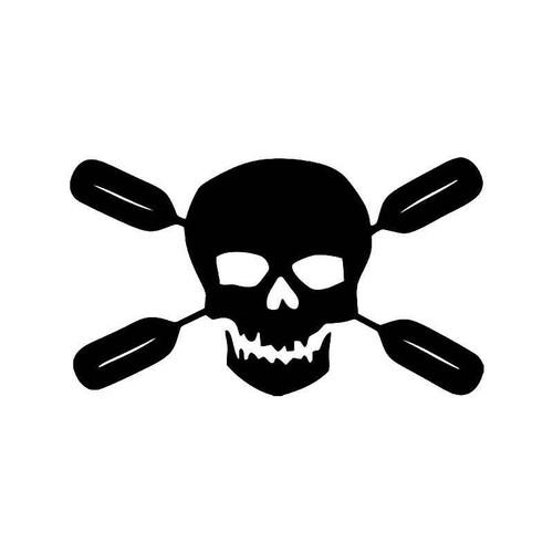 Rafting Oars Boat Skull Crossbones 1 Vinyl Sticker