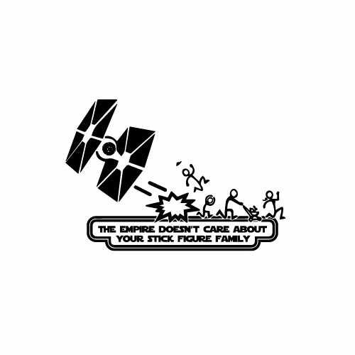 Star Wars Stick Family Vinyl Decal Sticker  Size option will determine the size from the longest side Industry standard high performance calendared vinyl film Cut from Oracle 651 2.5 mil Outdoor durability is 7 years Glossy surface finish