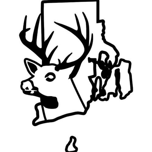 Rhode Island State Deer Buck Hunting Vinyl Sticker