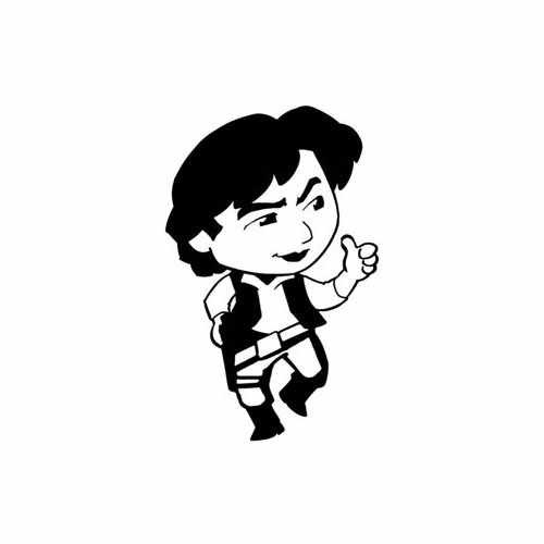 Star Wars Han Solo Baby  Vinyl Decal Sticker  Size option will determine the size from the longest side Industry standard high performance calendared vinyl film Cut from Oracle 651 2.5 mil Outdoor durability is 7 years Glossy surface finish
