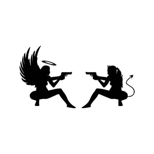 Sexy Angel Devil Girls Guns Vinyl Sticker