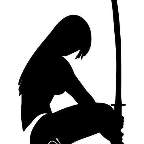 Sexy Samurai Girl Ninja Sword Vinyl Sticker