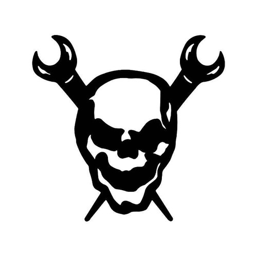 Skull Crossed Wrenches Vinyl Sticker