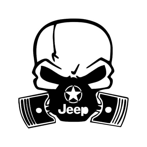 Skull Piston Gas Mask Jeep Vinyl Sticker