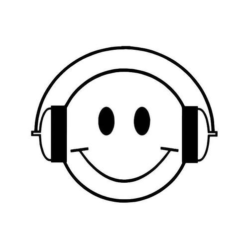 Smiley Music Headphones Vinyl Sticker