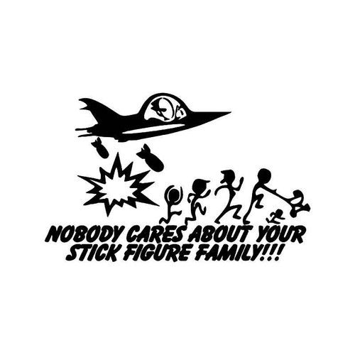 Spaceship Bomb Stick Figure Family Vinyl Sticker