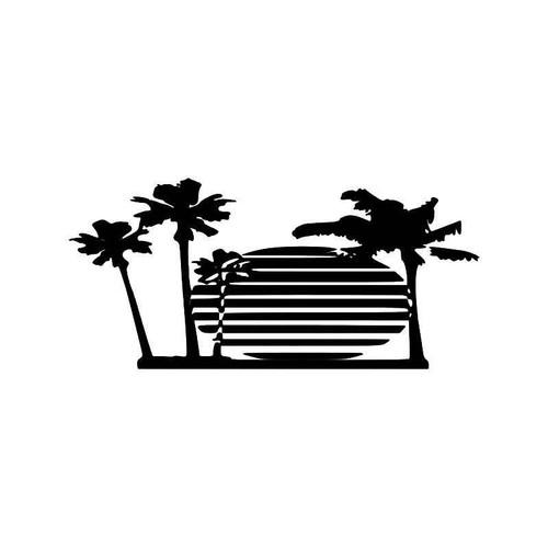 Sunset Palm Trees Vinyl Sticker