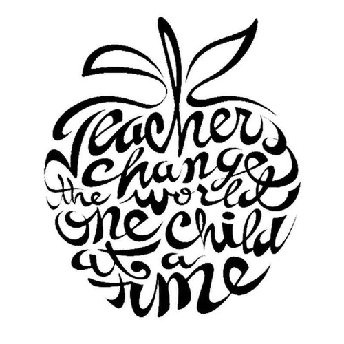Teachers Change The World Skull 739 Vinyl Sticker