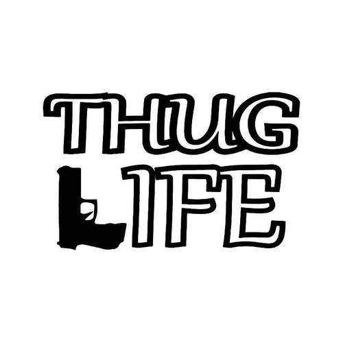 Thug Life Gun Pistol Jdm Japanese Vinyl Sticker