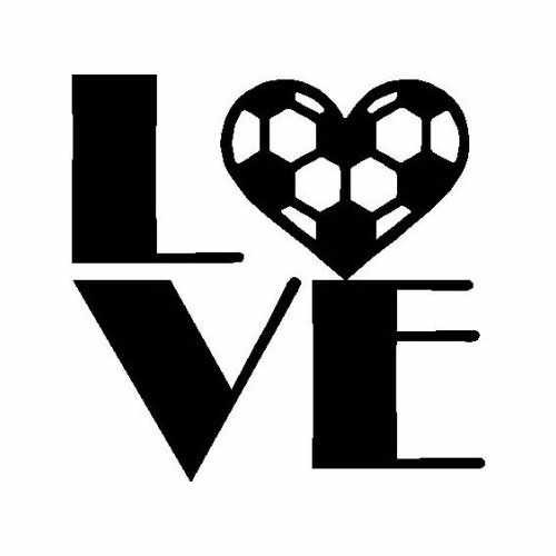 Sports Soccer Love  Vinyl Decal Sticker  Size option will determine the size from the longest side Industry standard high performance calendared vinyl film Cut from Oracle 651 2.5 mil Outdoor durability is 7 years Glossy surface finish