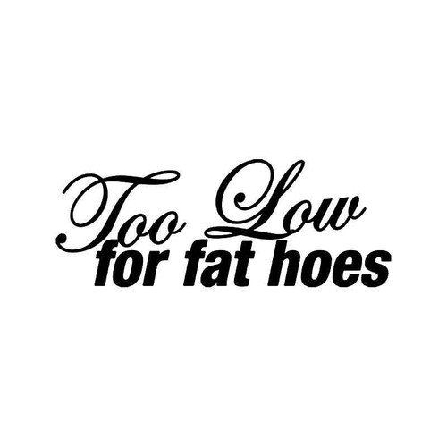 Too Slow Fat Hoes Jdm Japanese Vinyl Sticker