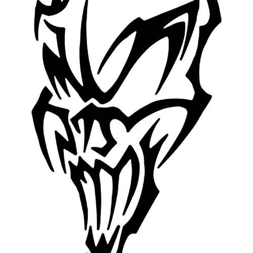 Tribal Death Skull 6 Vinyl Sticker