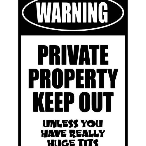 Warning Private Property Vinyl Sticker