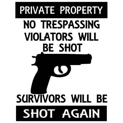 Warning Private Property Gun Vinyl Sticker