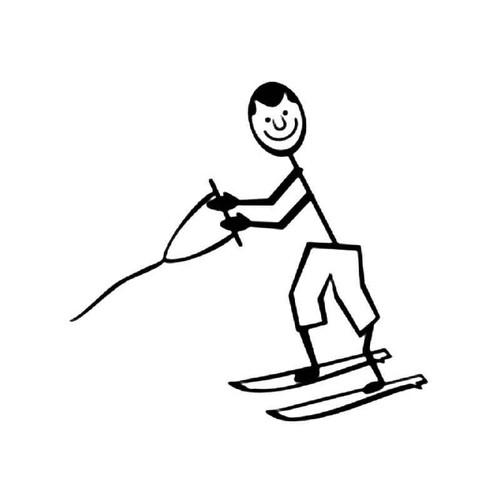 Water Skiing Sport Stick Figure 1 Vinyl Sticker