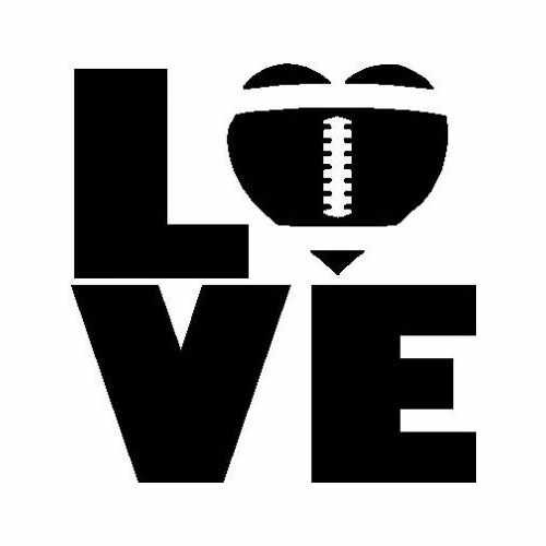 Sports Love Football  Vinyl Decal Sticker  Size option will determine the size from the longest side Industry standard high performance calendared vinyl film Cut from Oracle 651 2.5 mil Outdoor durability is 7 years Glossy surface finish