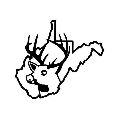 West Virginia State Deer Buck Hunting Vinyl Sticker
