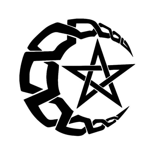 Wiccan Celestial Moon Pentagram Vinyl Sticker