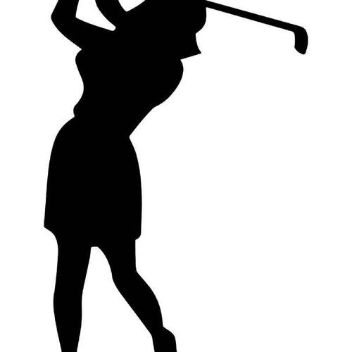 Women Golfing Golf 2 Vinyl Sticker