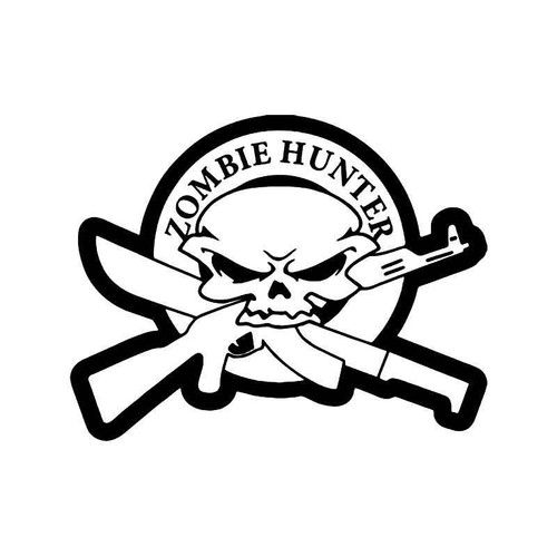 Zombie Hunter Skull Gun Knife Vinyl Sticker