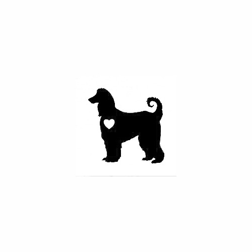 Afghan Hound With Heart Decal Size option will determine the size from the longest side Industry standard high performance calendared vinyl film Cut from Oracle 651 2.5 mil Outdoor durability is 7 years Glossy surface finish