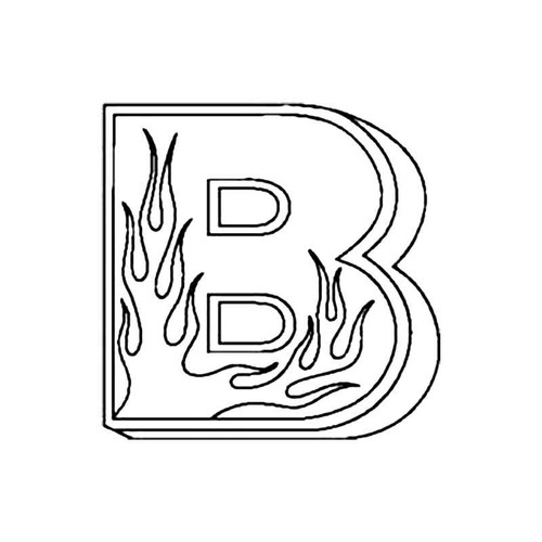 B Flames Letter S Decal