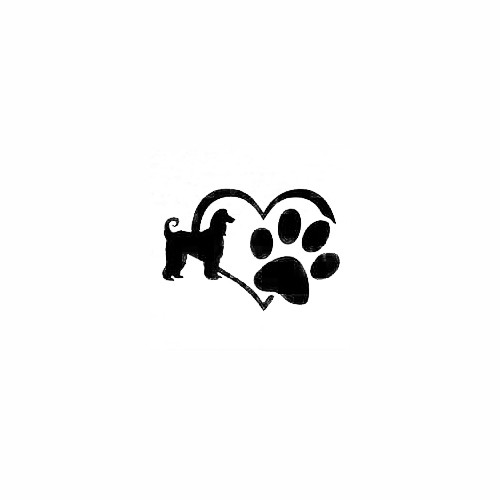 Afghan Hound Heart Paw Decal Size option will determine the size from the longest side Industry standard high performance calendared vinyl film Cut from Oracle 651 2.5 mil Outdoor durability is 7 years Glossy surface finish