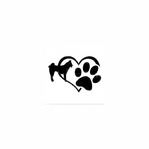 Akita Heart Paw Decal Size option will determine the size from the longest side Industry standard high performance calendared vinyl film Cut from Oracle 651 2.5 mil Outdoor durability is 7 years Glossy surface finish