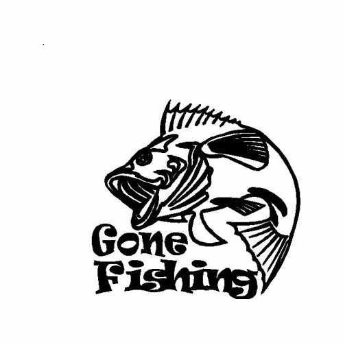 Sports Gone Fishing Bass  Vinyl Decal Sticker  Size option will determine the size from the longest side Industry standard high performance calendared vinyl film Cut from Oracle 651 2.5 mil Outdoor durability is 7 years Glossy surface finish