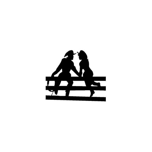 Cowboy And Girl On Fence Decal