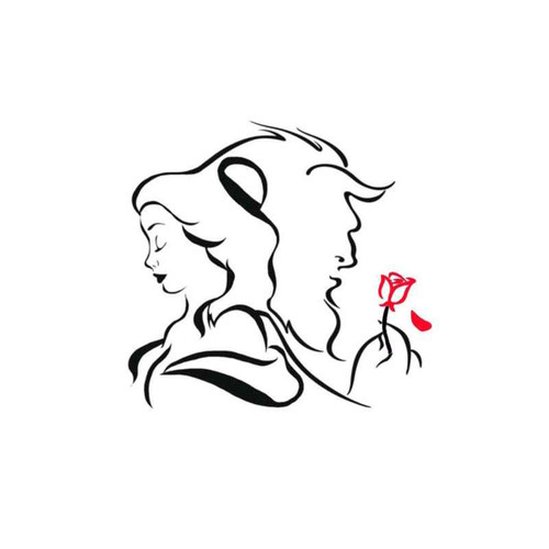 Beauty And The Beast W Red Rose Decal