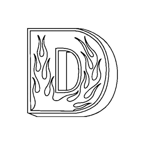 D Flames Letter S Decal