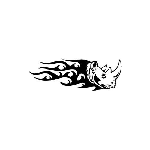 Flaming Tribal Rhino Head S Decal