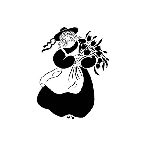 Girl With Flowers B S Decal