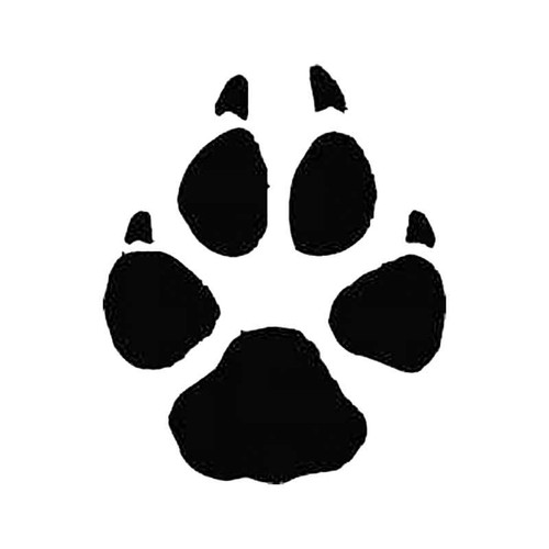 Grey Wolf Paw Print Tracks S Decal