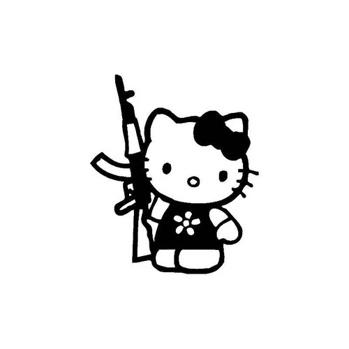 Hello Kitty With Gun Decal