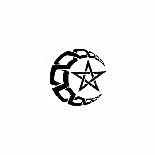 Crescent Moon with Pentacle Star Size option will determine the size from the longest side Industry standard high performance calendared vinyl film Cut from Oracle 651 2.5 mil Outdoor durability is 7 years Glossy surface finish