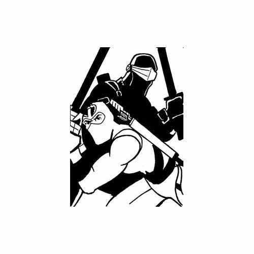Snake Eyes Storm Shadow  Vinyl Decal Sticker  Size option will determine the size from the longest side Industry standard high performance calendared vinyl film Cut from Oracle 651 2.5 mil Outdoor durability is 7 years Glossy surface finish