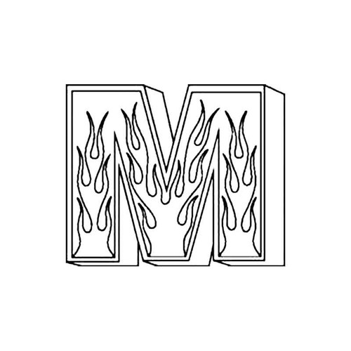 M Flames Letter S Decal