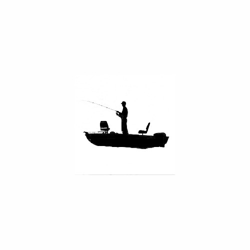 Man Boat Fishing Silhouette Decal Size option will determine the size from the longest side Industry standard high performance calendared vinyl film Cut from Oracle 651 2.5 mil Outdoor durability is 7 years Glossy surface finish