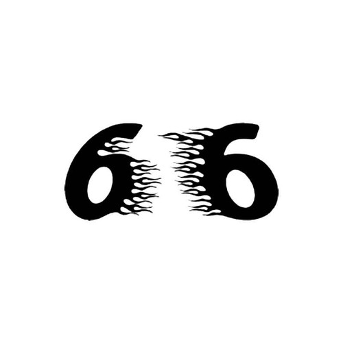 Number 6 Flames Number S Decal