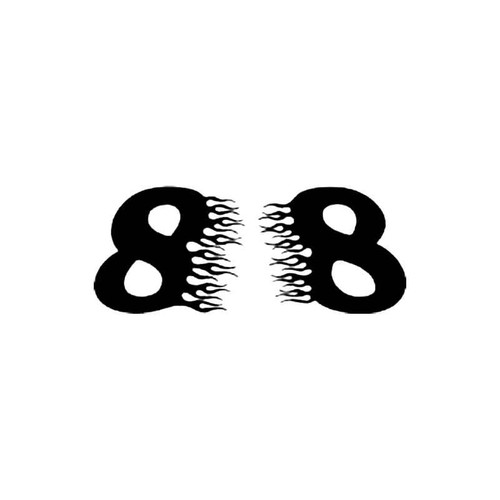 Number 8 Flames Number S Decal