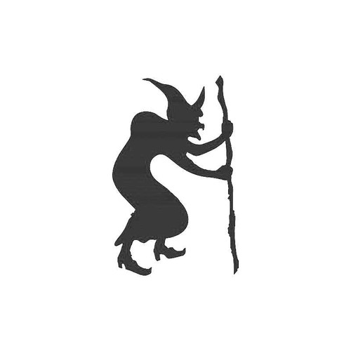 Old Witch And Stick Decal