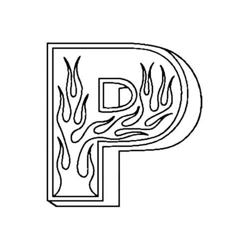 P Flames Letter S Decal