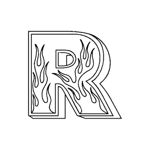 R Flames Letter S Decal