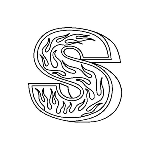 S Flames Letter S Decal