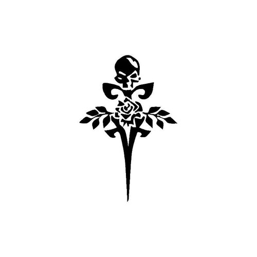 Skull With Cross And Rose Decal