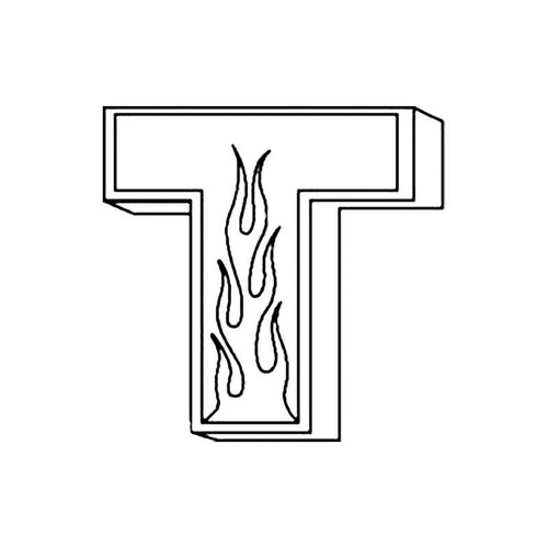 T Flames Letter S Decal